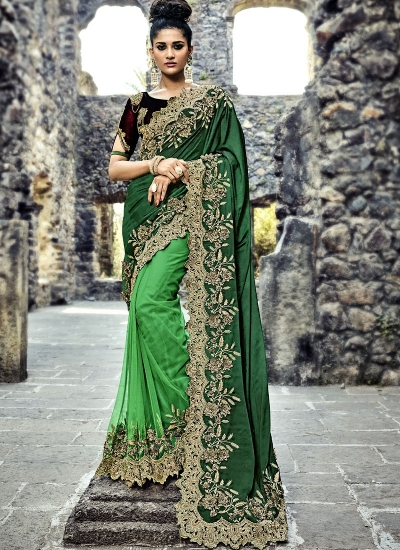 Green and wine color satin and net  wedding wear saree