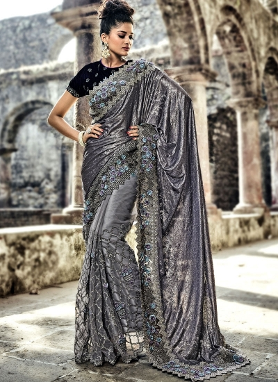 Grey color imported fabric and net wedding wear saree