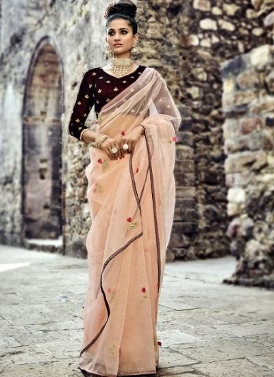 Peach and wine color organza tissue wedding wear saree