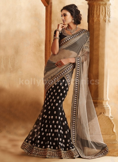 ATTRACTIVE LACE WORK GEORGETTE AND NET LEHENGA SAREE