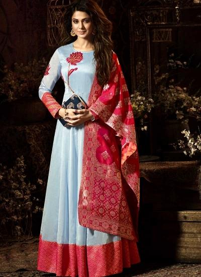 Jennifer Winget Sky blue and red chanderi silk anarkali