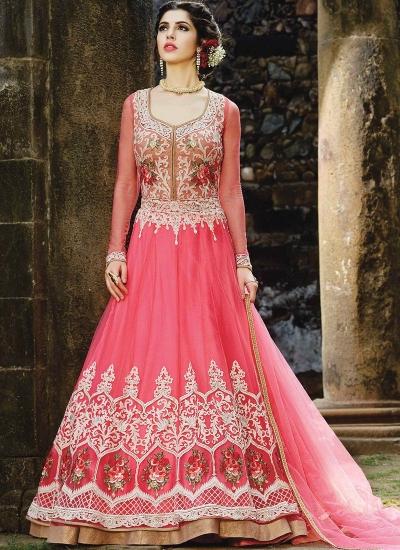 Pink color net party wear Ghagra suit