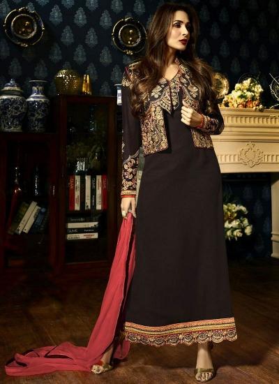 Malaika Arora khan georgette brown color party wear salwar Kameez