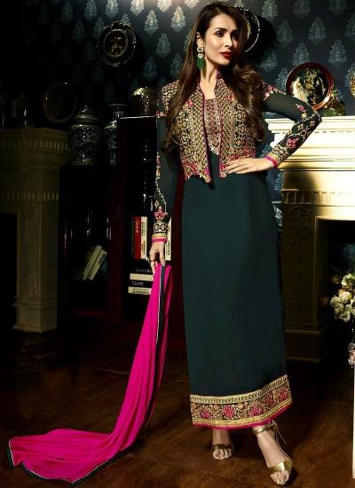 Malaika Arora khan georgette green color party wear salwar Kameez