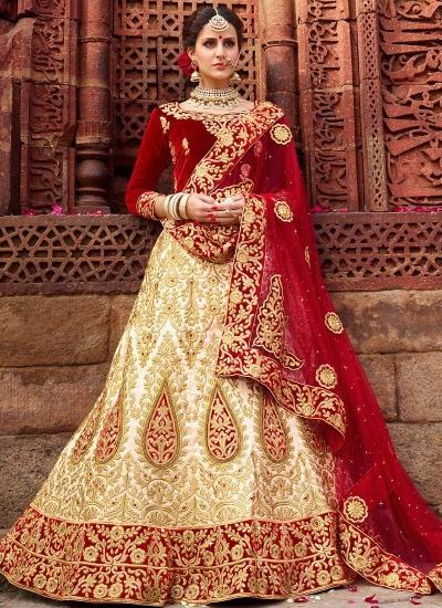 Off white and red satin silk and velvet wedding lehenga