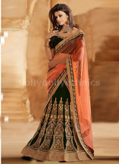 PROMINENT BOOTI WORK VELVET AND NET LEHENGA SAREE