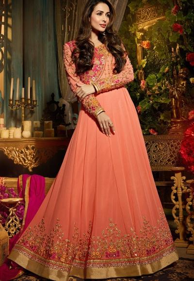 Malaika Arora khan georgette peach color party wear salwar Kameez