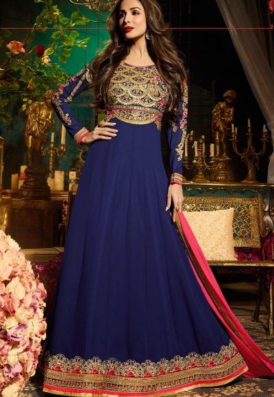 Malaika Arora khan georgette blue color party wear salwar Kameez