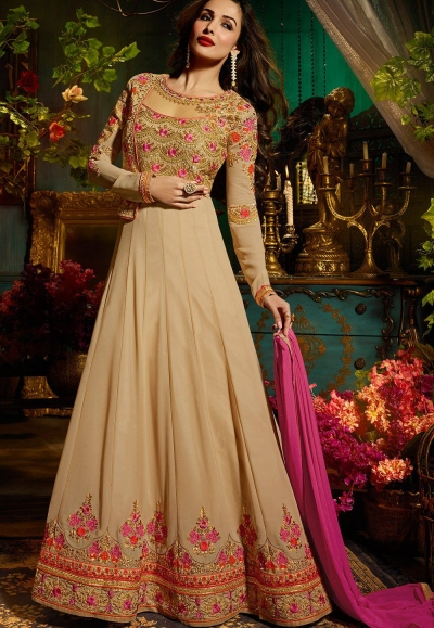 Malaika Arora khan georgette beige color party wear salwar Kameez