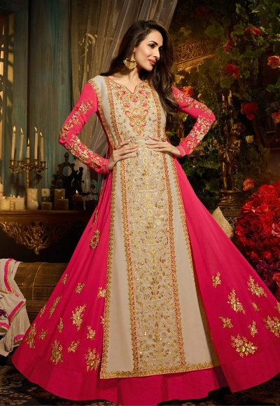 Malaika Arora khan georgette pink and offwhite party wear anarkali
