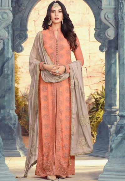Sonal Chauhan peach and grey georgette wedding anarkali