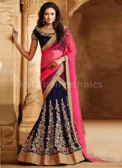 RESPLENDENT STONES AND BOOTI WORK LEHENGA SAREE