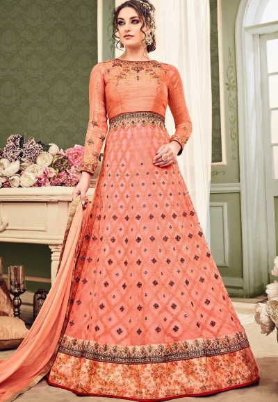0ecf5434d4 Buy Peach color net wedding anarkali suit in UK, USA and Canada