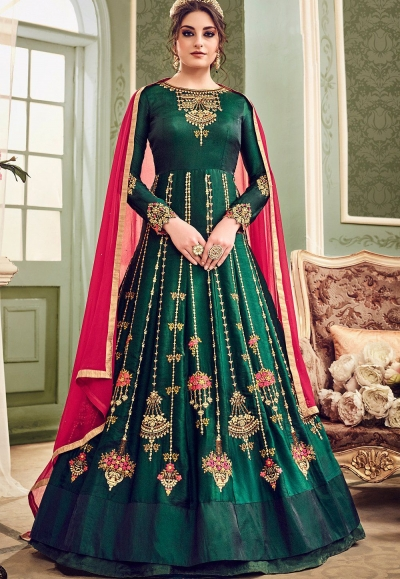 Emerald green color silk wedding anarkali suit