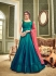 Peacock blue and mustard green koti style silk wedding anarkali suit