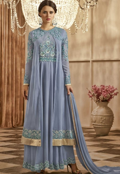 Blue color georgette party wear anarkali