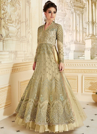 Beige color net party wear anarkali suit