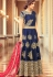 Blue color tafetta silk  party wear anarkali suit