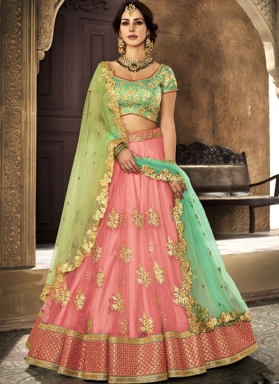Peach net wedding lehenga choli 5111