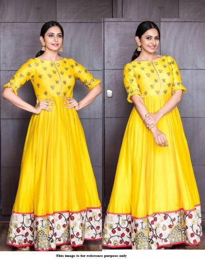 Bollywood Inspired Rakul Preet singh Tafetta silk gown