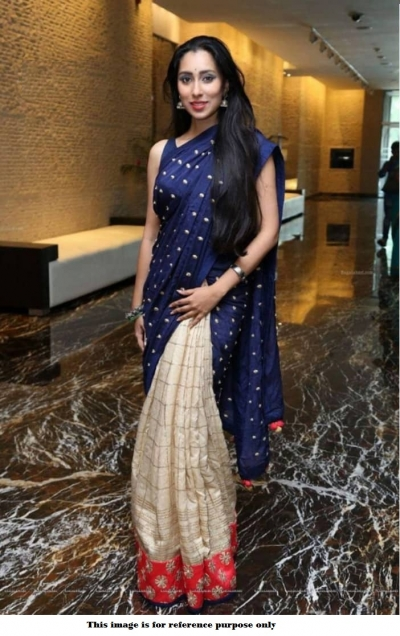Bollywood Inspired Navy blue and cream silk saree