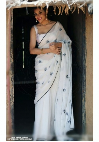 Bollywood Inspired White georgette saree