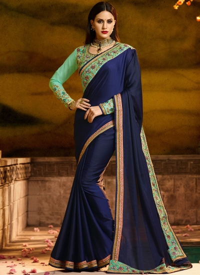 Majestic navy blue resham work party saree 1162