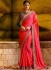 Embroidered fancy fabric party saree in hot pink 1165