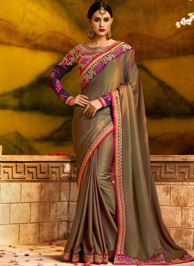 Gratifying fancy fabric patch border work party saree 1166