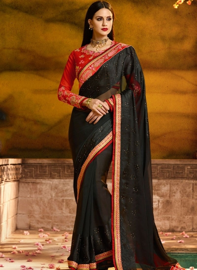 Dignified fancy fabric black patch border work classic designer saree 1169