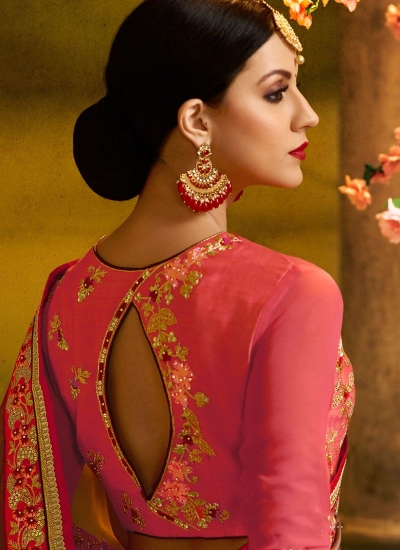 Aesthetic brown resham work fancy fabric classic party saree 1172