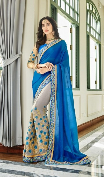 Blue georgette embroidered party wear saree 88030