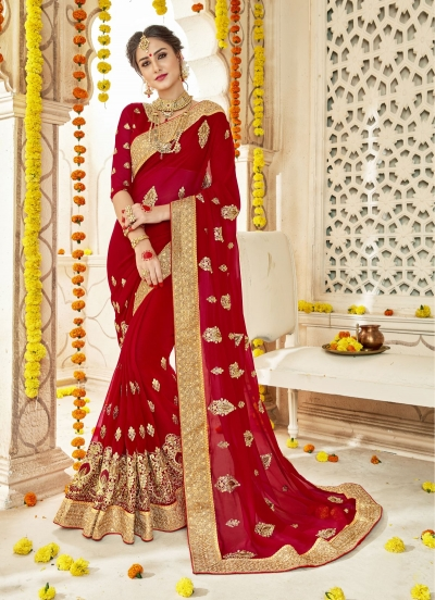 Red Faux  Georgette  Embroidered  Traditional  Saree 5903