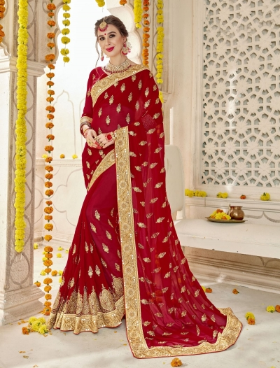 Red Faux  Georgette  Embroidered  Traditional  Saree 5905