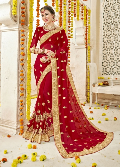 Red Faux  Georgette  Embroidered  Traditional  Saree 5907