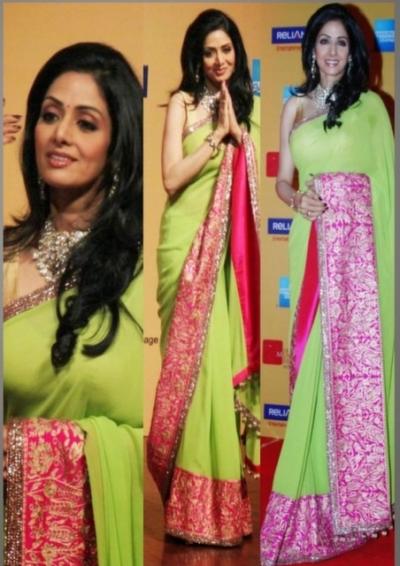 Sridevi Apple Green saree at Mumbai Film Festival Opening Ceremony