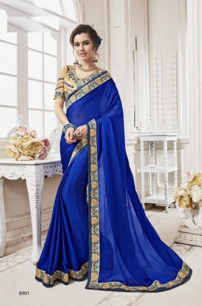 Blue georgette party wear saree 8901
