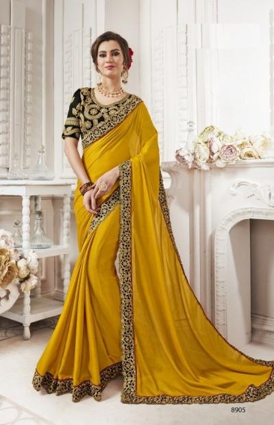 Mustard georgette party wear saree 8905