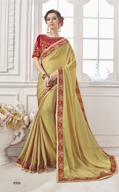 Lime georgette party wear saree 8906