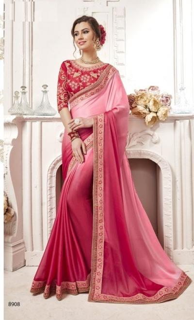 Pink georgette party wear saree 8908