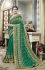 Green georgette embroidered party wear saree 5609