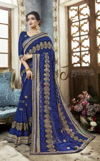 Blue georgette embroidered party wear saree 5611