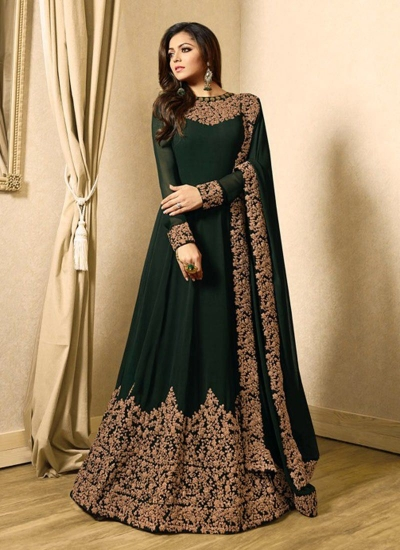 Drashti Dhami deep green color georgette party wear anarkali kameez