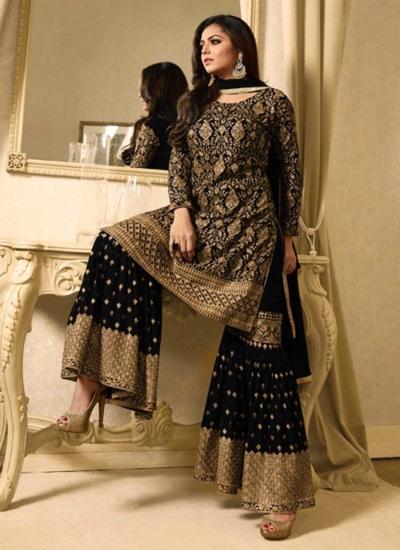 Drashti Dhami black color georgette party wear sharara suit