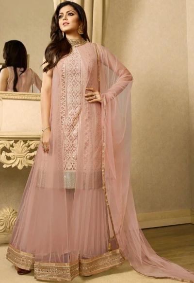 Drashti Dhami Light pink color net jacket style  party wear sharara