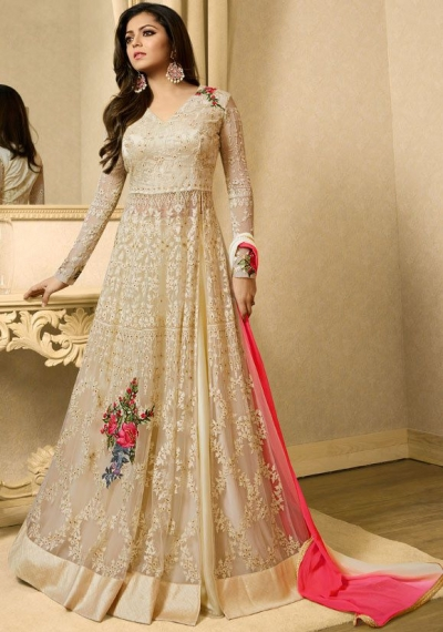 Drashti Dhami off white color net party wear lehenga kameez