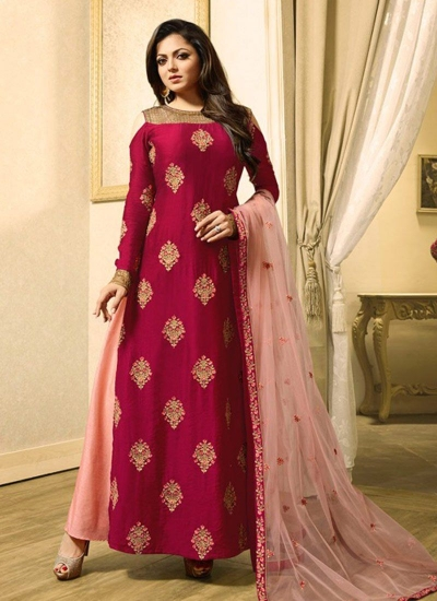 Drashti Dhami magenta and peach color chanderi silk lehenga kameez