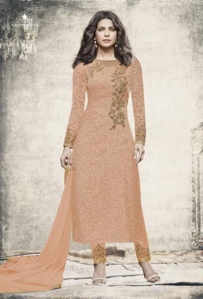 Priyanka chopra Peach color straight cut salwar kameez