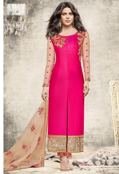 Priyanka chopra Pink color slit open suit 5195