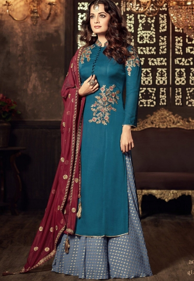 Dia Mirza Firozi color georgette Palazzo kameez 45002